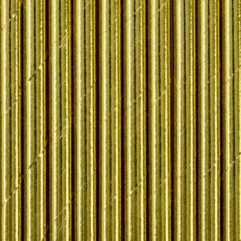 10 Pailles papier métallisés or