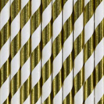 10 Pailles papier métallisés rayé or