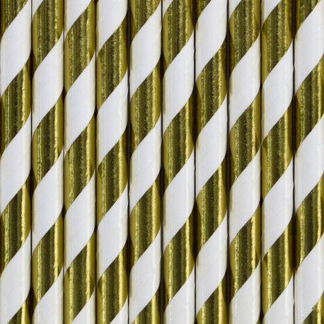 10 Pailles en papier métallisé à rayures or pour une belle décoration de table d'anniversaire, de candy bar, de Noël...Dimension:...