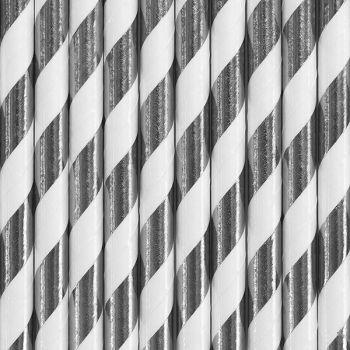 10 Pailles papier métallisés rayé argent