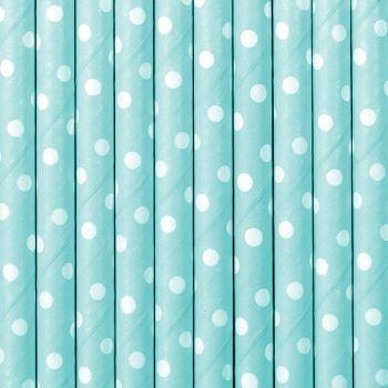 10 Pailles papier pois bleu pastel