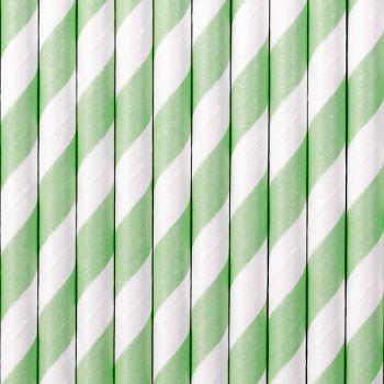 10 Pailles papier rayure mint