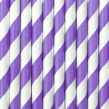 10 Pailles papier rayé lilas