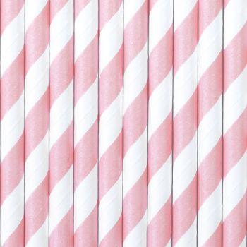 10 Pailles papier rayé rose