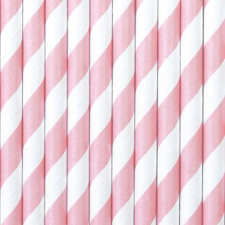10 Pailles en papier à rayures rose pour une belle décoration de table d'anniversaire, de candy bar, de Noël...Dimension: 19.5cm