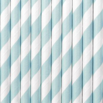 10 Pailles papier rayé bleu pastel