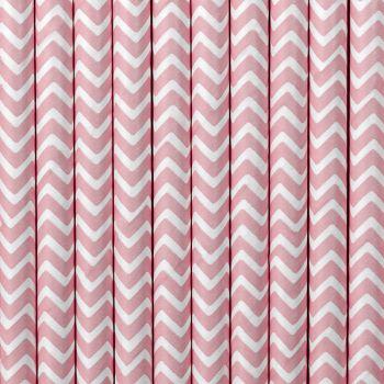 10 Pailles papier chevrons rose