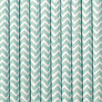 10 Pailles papier chevrons bleu pastel