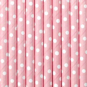 10 Pailles papier pois rose
