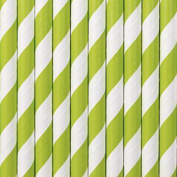 10 Pailles papier rayé vert pomme