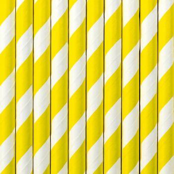 10 Pailles papier rayé jaune