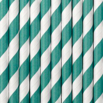 10 Pailles papier rayé vert