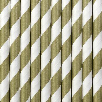 10 Pailles papier rayé or mat