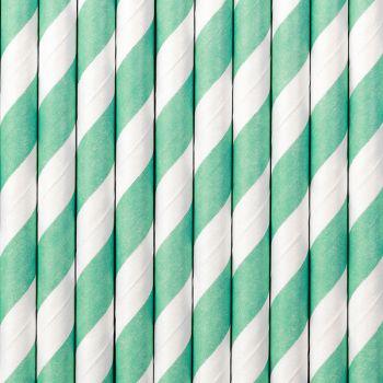 10 Pailles papier rayé turquoise