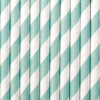 10 Pailles papier rayé bleu ciel