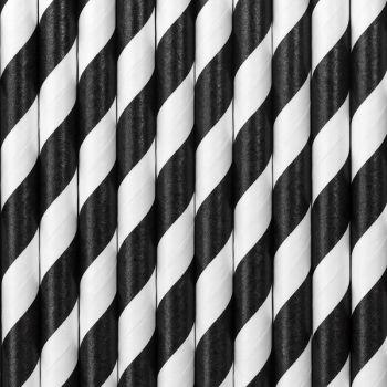 10 Pailles papier rayé noir