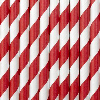10 Pailles papier rayé rouge