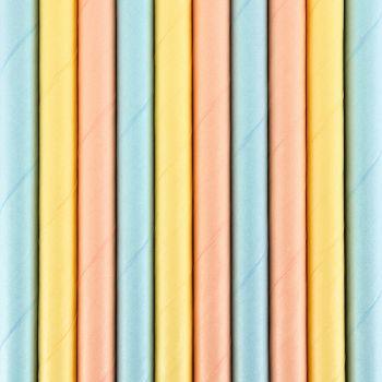 10 Pailles papier pastel