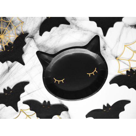 6 Assiettes en carton en forme de tête de chat noire pour réaliser une belle table d'Halloween tendance et douce !Dimensions : 22cm...