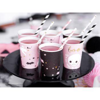 6 gobelets halloween rose et noir