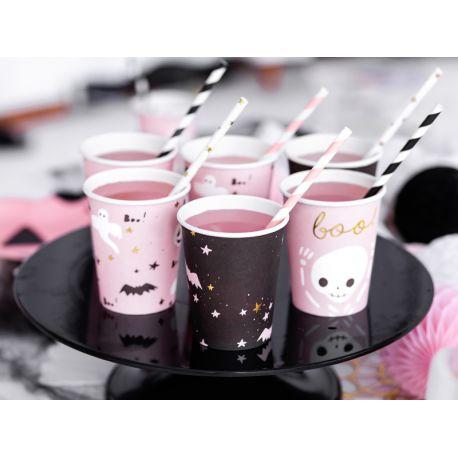 6 Gobelets en carton avec décors Halloween de couleur rose, noir et dorure pour réaliser une belle table d'Halloween tendance et douce...