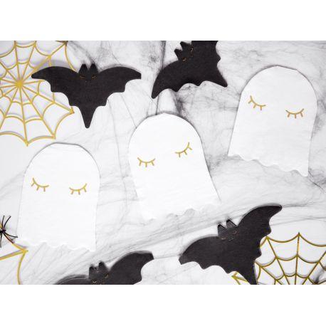20 serviettes en papier en forme de fantôme de couleur blanche pour réaliser une belle table d'Halloween tendance et douce...