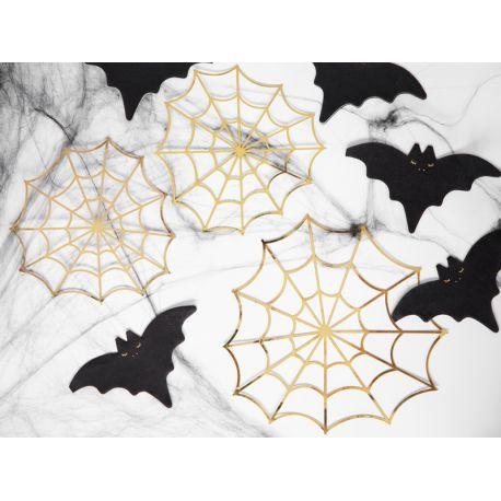 Assortiment de 3 toiles d'araignées métallisés or, pour réaliser une belle décoration d'Halloween tendance !Dimensions : 1 fois...