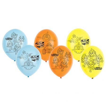 Assortiment de 6 ballons en latex en aluminium pour la décoration de fête d'anniversaire sur le thème Top WingDimensions : Ø28cm