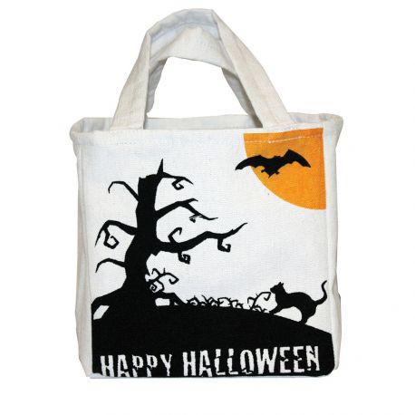Sac en tissu idéal pour la récolte de bonbons d'HalloweenDimensions : 26cm x 16cm