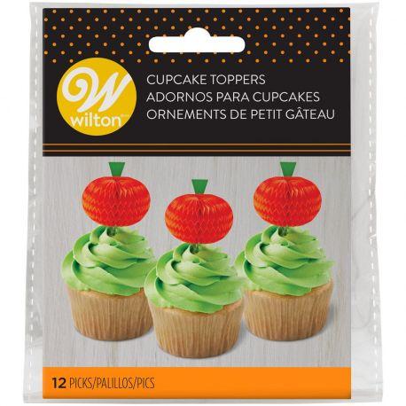 Décorez facilement vos cupcakes grâce à ces pics deco nids d'abeille en forme de citrouille de Wilton !Taille : env. 3 x 7...
