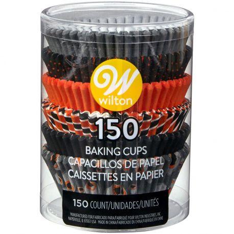 Assortiment de 150 caissettes à cupcakes en papier aux couleurs d'Halloween prévu pour la cuisson à utiliser avec un moule à...
