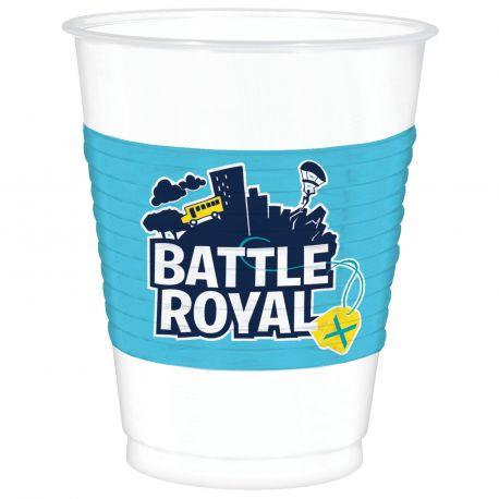 8 mega gobelets en plastique Battle Royal pour une belle décoration d'anniversaire sur le thème Fortnite Dimensions : 47cl