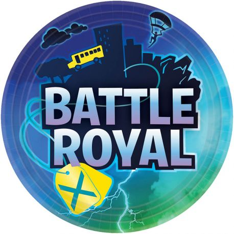 8 assiettes en carton Battle Royal pour une belle décoration d'anniversaire sur le thème Fortnite Dimensions : Ø23cm