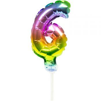 Cake topper ballon Arc en ciel N°6