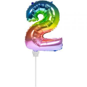 Mini ballon chiffre 2 arc en ciel gonflé