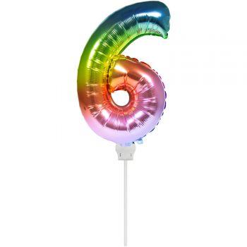 Mini ballon chiffre 6 arc en ciel gonflé