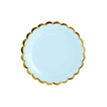 6 petites assiettes sweet pastel bleu