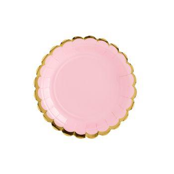 6 petites assiettes sweet pastel rose