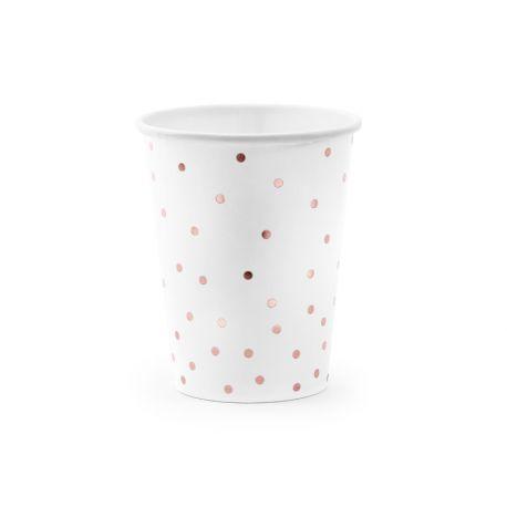 6 gobelets en carton blanc avec pois métallisé gold rose pour faire une décoration d'anniversaireultra tendance, douce et pastel...