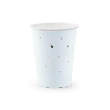 6 gobelets en carton bleu pastel avec étoiles métallisé argent pour faire une décoration d'anniversaireultra tendance, douce et...