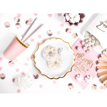 6 petites assiettes en carton blanche festnnées avec un liseré métallisé or pour faire une décoration d'anniversaireultra tendance,...
