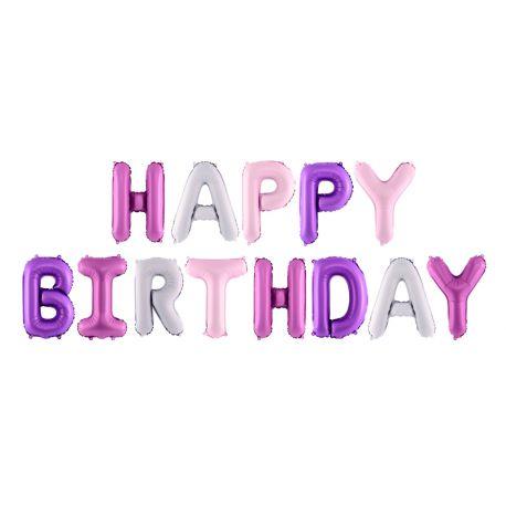 Guirlande de ballons lettres en aluminium représentant Happy Birthday de couleur rose violet et blanc idéal pour une superbe décoration...