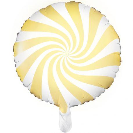 Ballon en aluminium en forme de bonbons strié de couleur jaune pour une belle décoartion de fête douce et tendanceA gonfler...