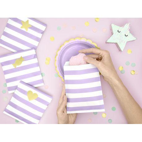 Superbe pochette cadeaux en papier à rayures de couleur lilas livré avec un assortiment de 6 autocollants or métallisés pour fermer le...