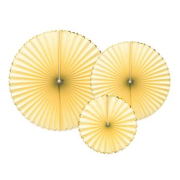 3 éventails jaune pastel liseré or