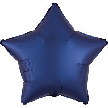 Ballon hélium satin luxe bleu marine étoile