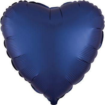 Ballon hélium satin luxe bleu marine coeur