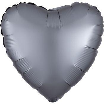 Ballon hélium satin luxe graphite coeur