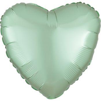 Ballon hélium satin luxe vert pastel coeur