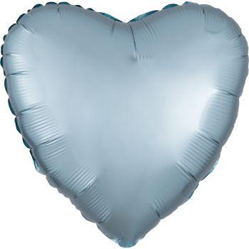 Ballon hélium satin luxe bleu pastel coeur